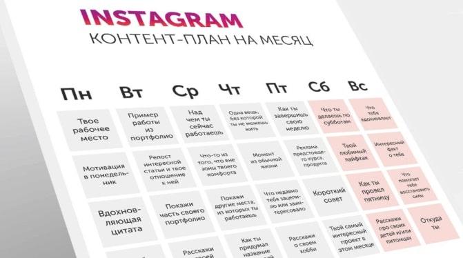 Контент-план Instagram